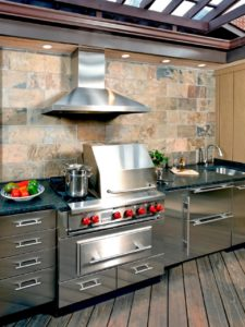 backyard kitchen and fireplace Atlanta