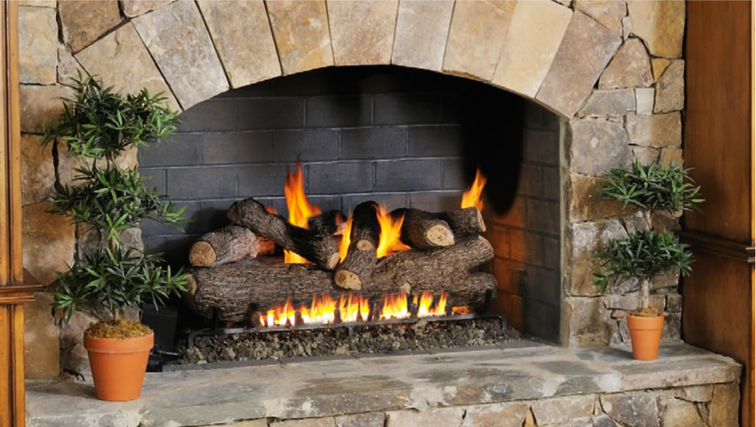 Gas vented fireplace
